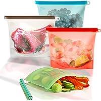 Bolsas de Silicona Reutilizables para Almacenamiento de Alimentos, Bolsas de Silicona para Congelador, Bolsa Hermética para la Conservación de Recipientes para Alimentos, Carne, Fruta, Sándwich, Refrigerio, Almuerzo, Líquido (1 LITROS )
