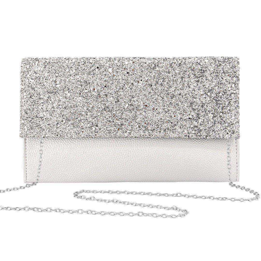 Gabrine Womens Evening Envelop Shoulder Bag Clutch Purse Handbag Shiny Sequins for Wedding Party Prom(Silver white)