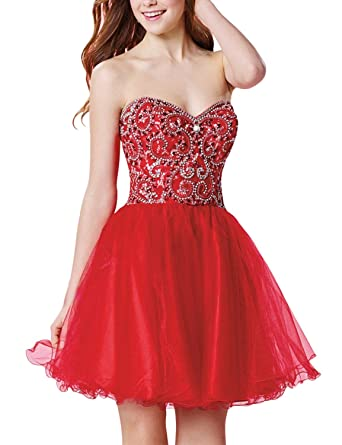 SeasonMall Womens Short Prom Dresses A Line Lace Red Homecoming Dresses Size 0 US Red