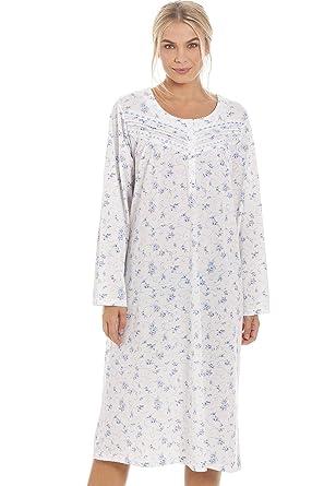 d07f146f3b72f Chemise de Nuit à Manches Longues Femme Motif imprimé en Forme de Roses -  Bleu: Camille: Amazon.fr: Vêtements et accessoires
