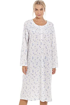 bba9a4cb77f2 Camille Womens Classic Blue Rose Print Long Sleeve Nightdress 10/12