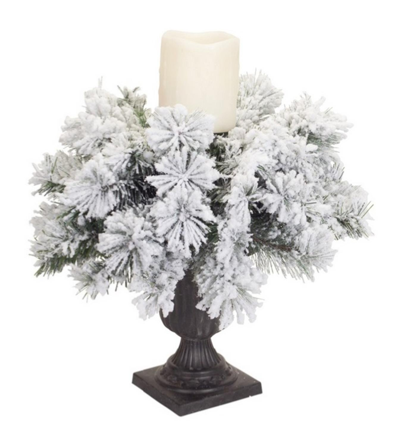 Pack of 2 Flocked Snowy Pine Christmas Pillar Candle Holders 15''