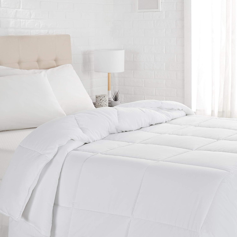 Basics Down Alternative Bed Comforter, Full / Queen, White, Light: Home & Kitchen