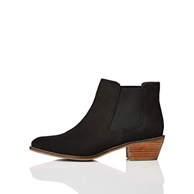 Brand - find. Women's Flexi-Sole Cuban Heel Chelsea Boots, Black), 5 UK: Shoes