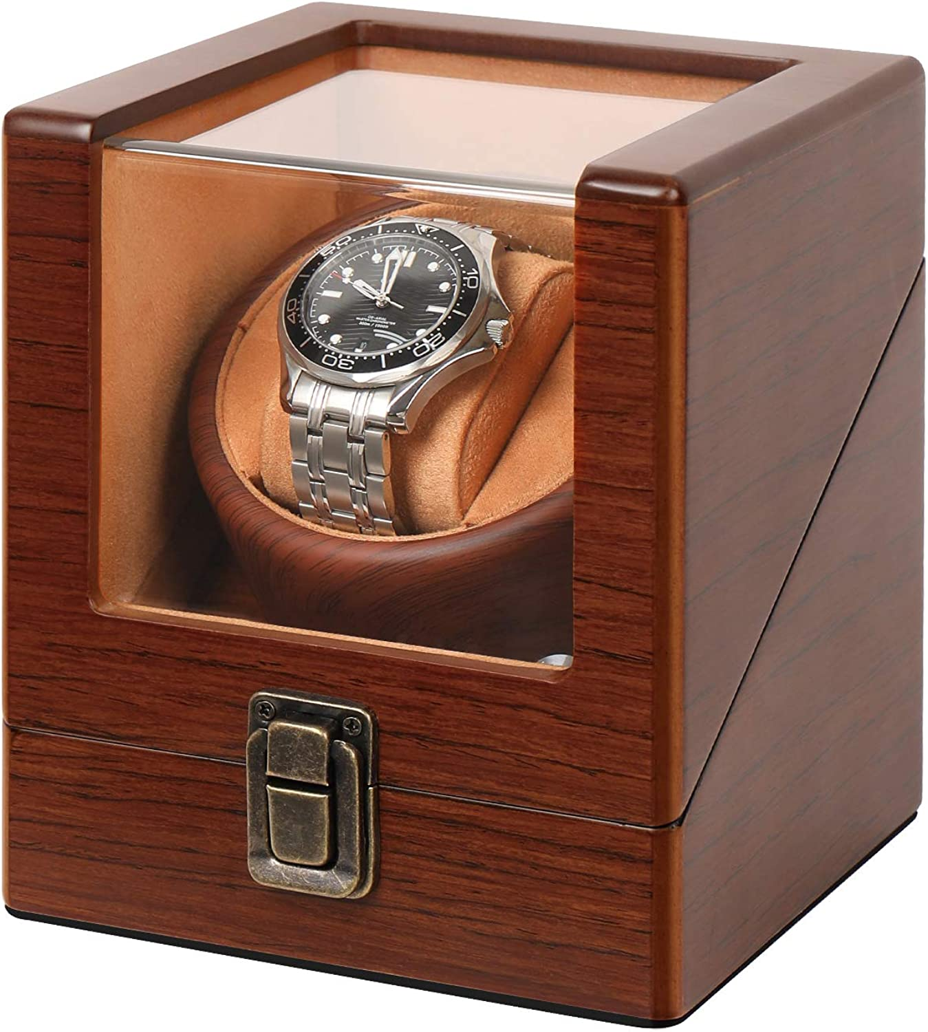 Wooden Watch Winder for Automatic Watches with Lock Super Quiet Motor Watch Winder Box Single: Sen Moer: Watches