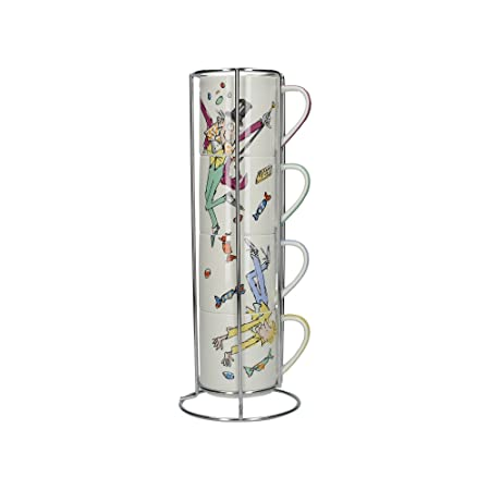 162f28044728 Roald Dahl Charlie and The Chocolate Factory Stacking Fine China Mugs with Metal  Display Stand (5-Piece Set)  Amazon.co.uk  Kitchen   Home