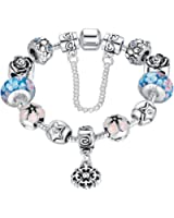 Wostu Love Safe Chain Silver Plated Alloy Blue Crystals Flower Pendants Accessories Lampwork Charm Beaded Bracelet