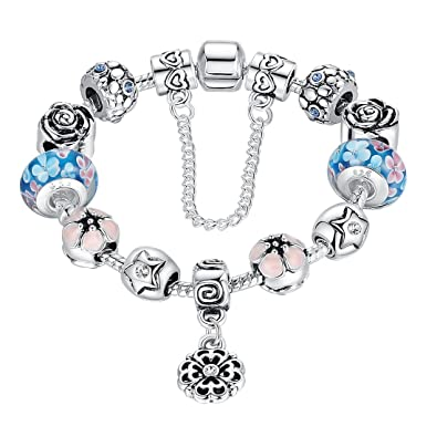 a75f22fee Wostu Silver Plated Charm Bracelets with Blue Murano Glass Bead Birthday  Christams Gift for Women Girls 18cm: Amazon.co.uk: Jewellery