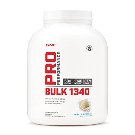 GNC Pro Performance Bulk 1340, Vanilla Ice Cream, 7 lbs, Supports Muscle Energy, Recovery and Growth