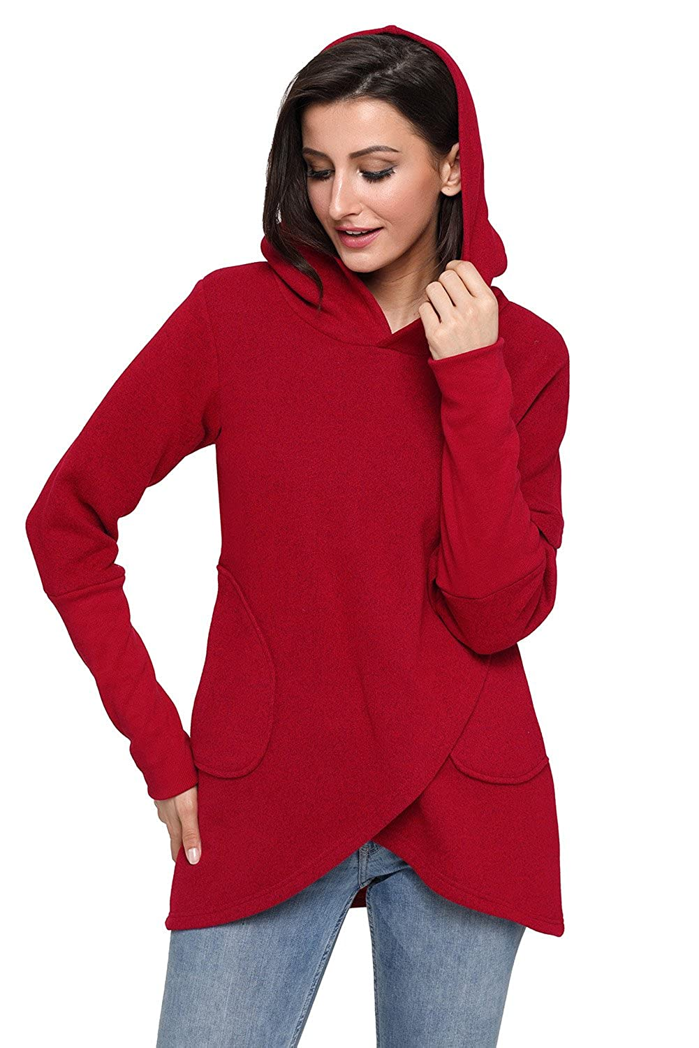Podlily Women's Double Hooded Striped Long Sleeve Sweatshirt with Pockets Casual Pullover Tops PD251302