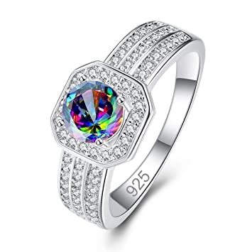 Veunora 925 Sterling Silver Plated Lab-Created 3 Stones Promise Proposal Engagement Wedding Rings for Women Girl