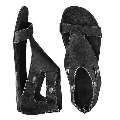 827889a7c49 Huiyuzhi Womens Open Toe Gladiator Thong Flat Snadals Zipper Flip Flops  (10-10.5 B