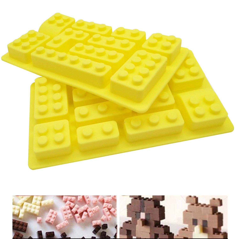 LEGO Moule en silicone 2pcs/lot de bande, anti-adhésif de qualité alimentaire, Moule Bac à Glaçons, gelée, biscuits, Chocolat, bonbons, Cupcake Moule à gâteau, Moule à muffins Somtis