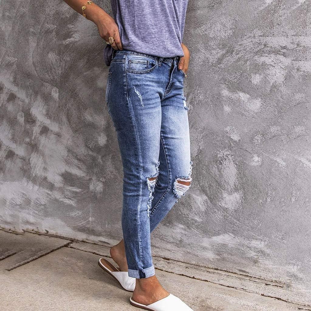 Hapae Women's Slim Fit Skinny Denim Ripped Jeans Trousers,Stretchy Boyfriend Jeans Pants,Mid Waisted Stylish Denim Trousers,Stretchy Destroyed Distressed Denim Pants Blue#5