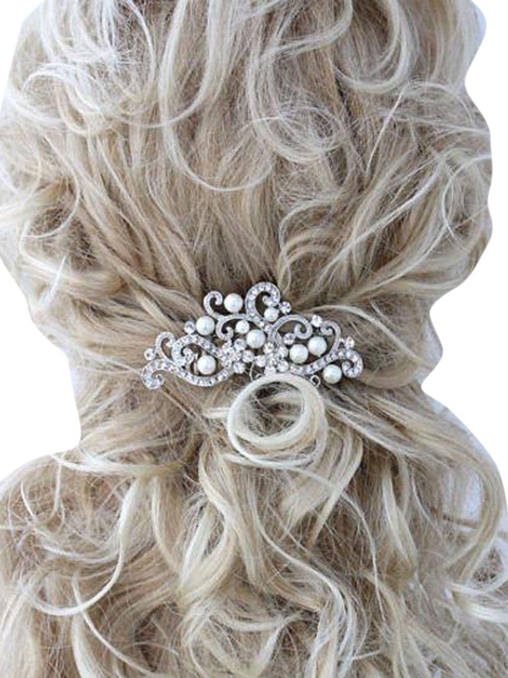 df60a8dcd4b Missgrace Crystal Jewelry Comb Bridal Headpiece Hair Clip Headband (Silver)