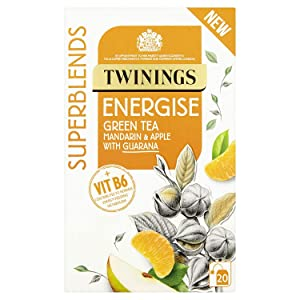 Twinings Superblends Energise 20 Tea Bags – Mandarin and Apple Green Tea with Guarana and Vitamin B6. Vitamin B6 contributes to normal energy metabolism. Warm Ginger and zesty Citrus