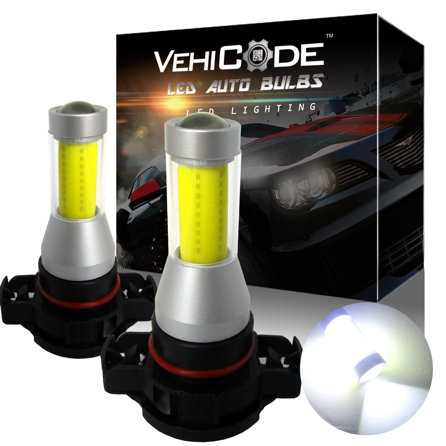VehiCode Super Bright 2000 Lumens 880 899 893 886 894 3000K Gold Yellow 2 Pack 360 Degree w//Projector Fanless Plug-N-Play Replacement LED Fog Light Bulbs//DRL Kit High Power COB