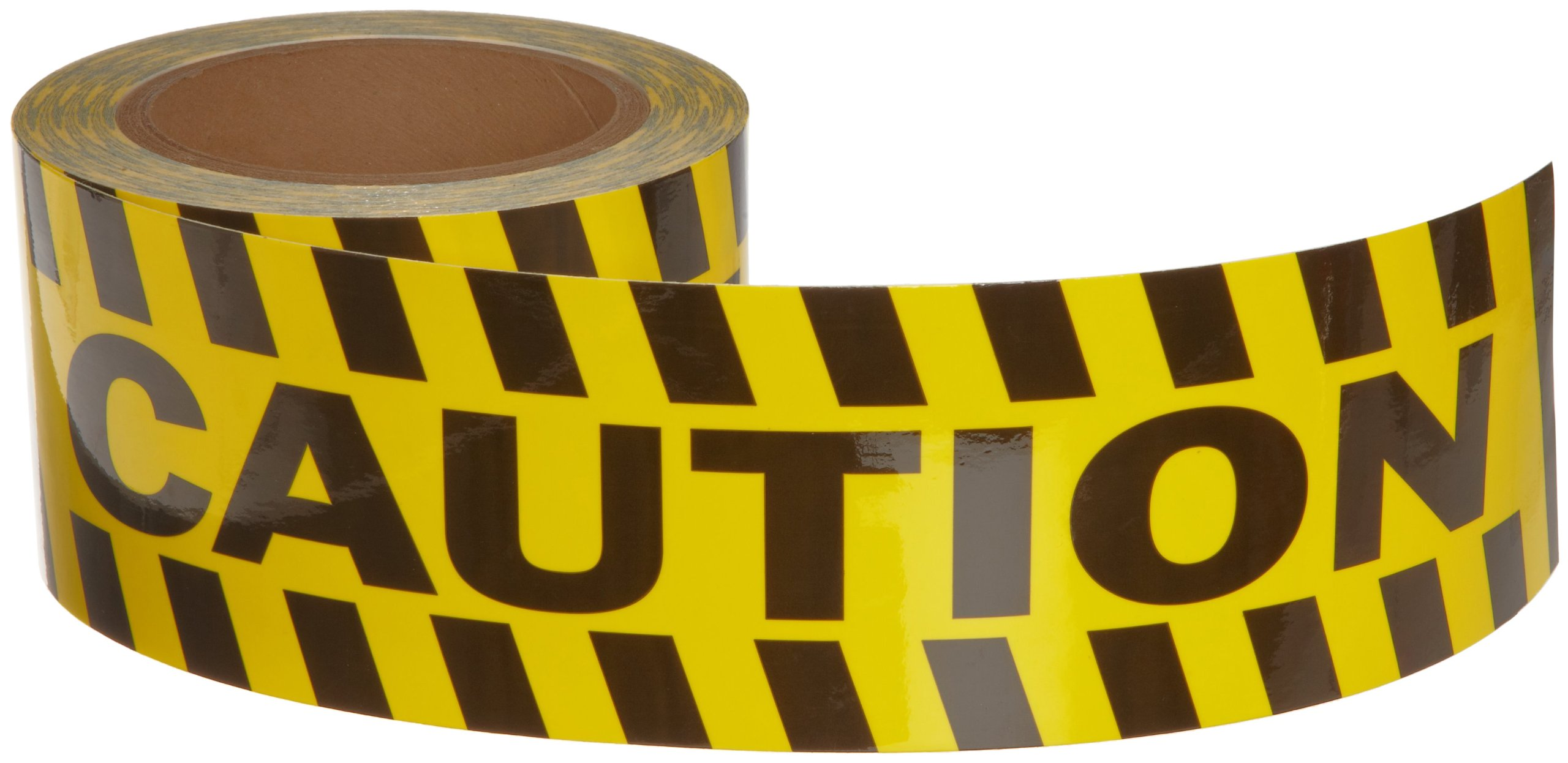 Brady 60' Length, 3'' Width, B-950 Vinyl, Black And Yellow Color Striped Aisle Marking Tape, Legend ''Caution (With Black And Yellow Diagonal Stripes)''