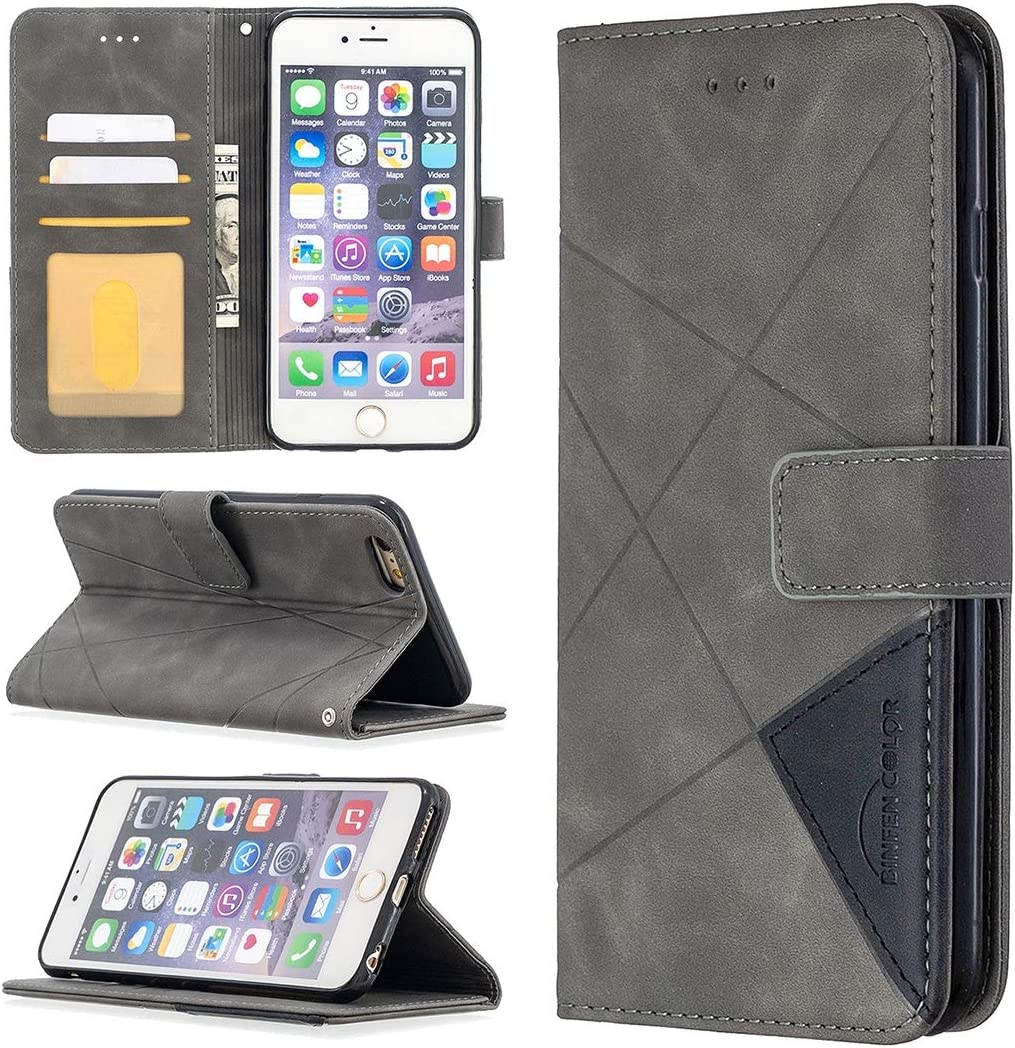 SZCINSEN Case for iPhone 6 Plus Multifunctional Wallet Mobile Phone Leather Case Premium PU Leather Case,Credit Card Holder Kickstand Function Folding Case (Color : Gray)