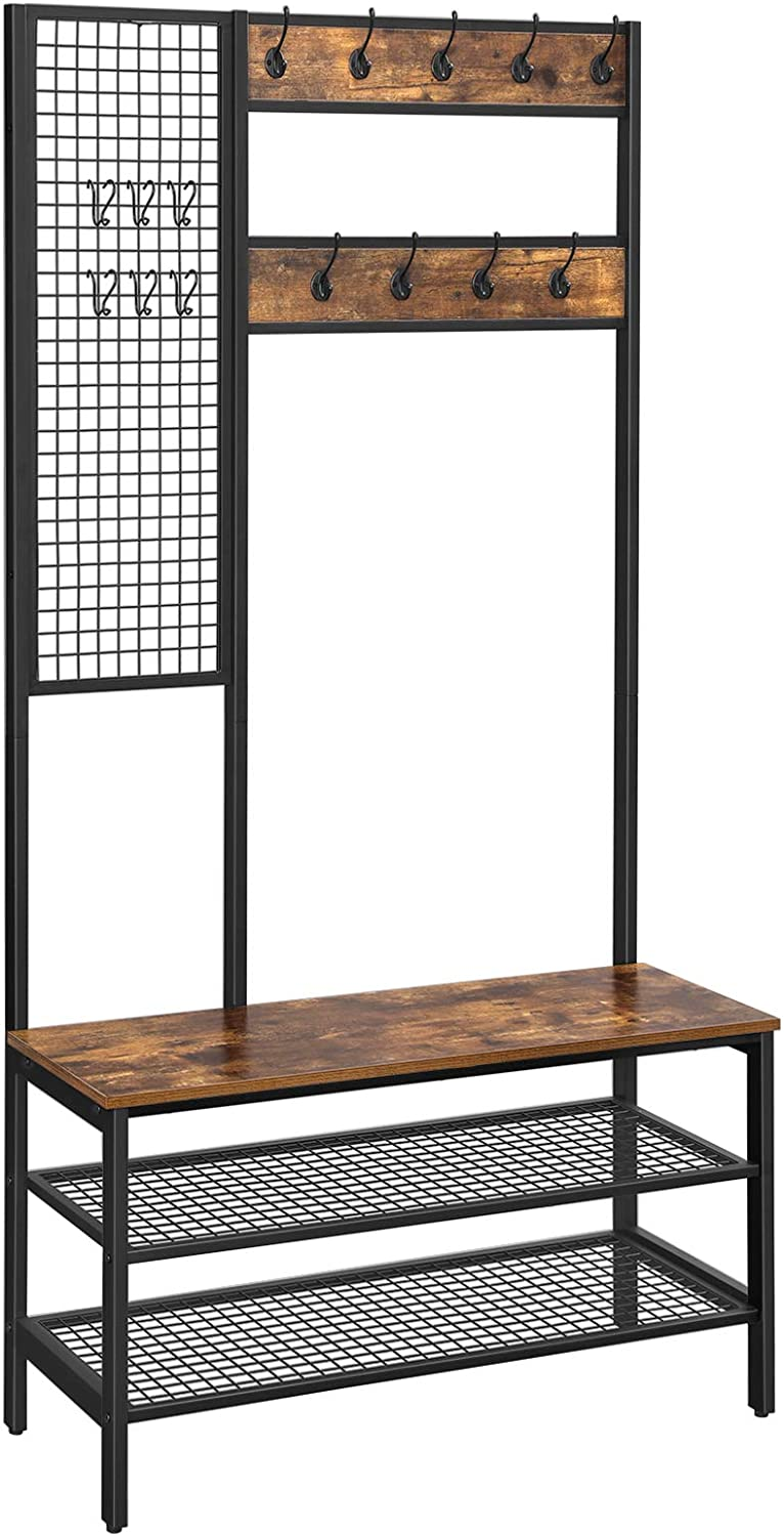 Hooks Easy to Assemble Hall Tree Rustic Brown HSR98BX Lots of Storage Space VASAGLE Coat Rack Coat Stand with Grid Wall 185 cm Tall Shoe Rack 2 Mesh Shelves Industrial Style