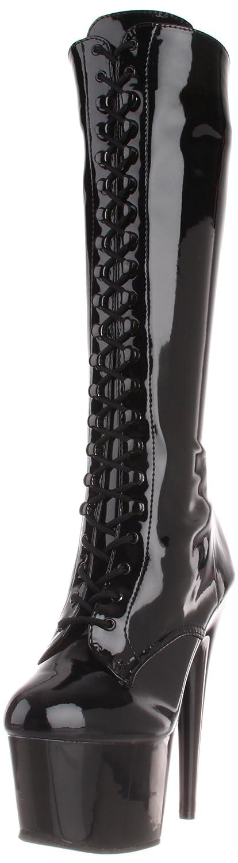 Blk Str Faux Leather Blk Matte Pleaser Damen Adore-2023 Kurzschaft Stiefel