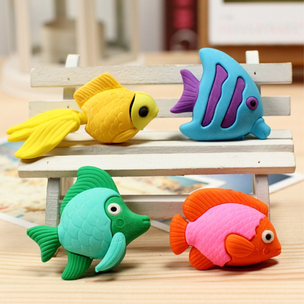 1 Set(4pcs) Kawaii Cute Lovely Marine fish Shape Erasers Random Color Shipping school stationeries