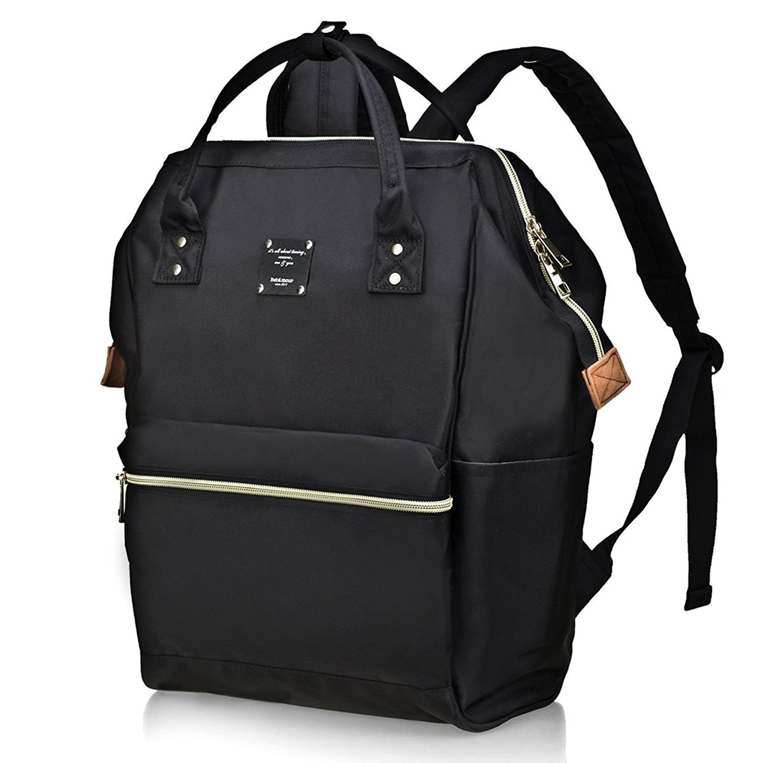 Bebamour Casual College Backpack Lightweight Travel Wide Open Back to School Backpack for Women&Men(Black) by Bebamour