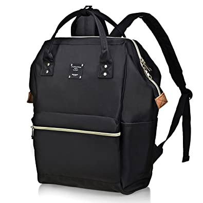 afb0230a8 Bebamour Casual College Backpack Lightweight Travel Wide Open Back to  School Backpack for Women&Men(Black