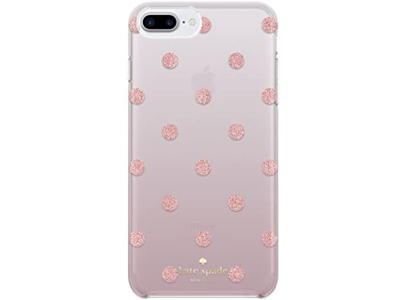 newest 9113c 44f03 Kate spade new york Protective Hardshell Case for iPhone 8 Plus - also  compatible with iPhone 7 Plus, iPhone 6+/6s+ - Glitter Dot Foxglove/Rose  Gold ...