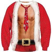 TUONROAD Sudaderas sin Capucha Christmas 3D Impreso Ugly Navidad Suéter Jumper Crew Neck Manga Larga Jersey Sweatshirt…