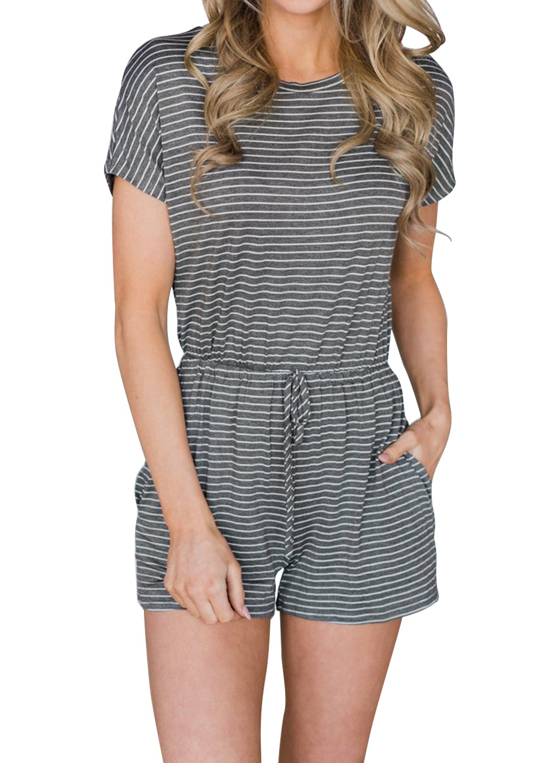 MIHOLL Women Short Sleeve Striped Jumpsuit Casual Summer Rompers Playsuits (Small, Grey)
