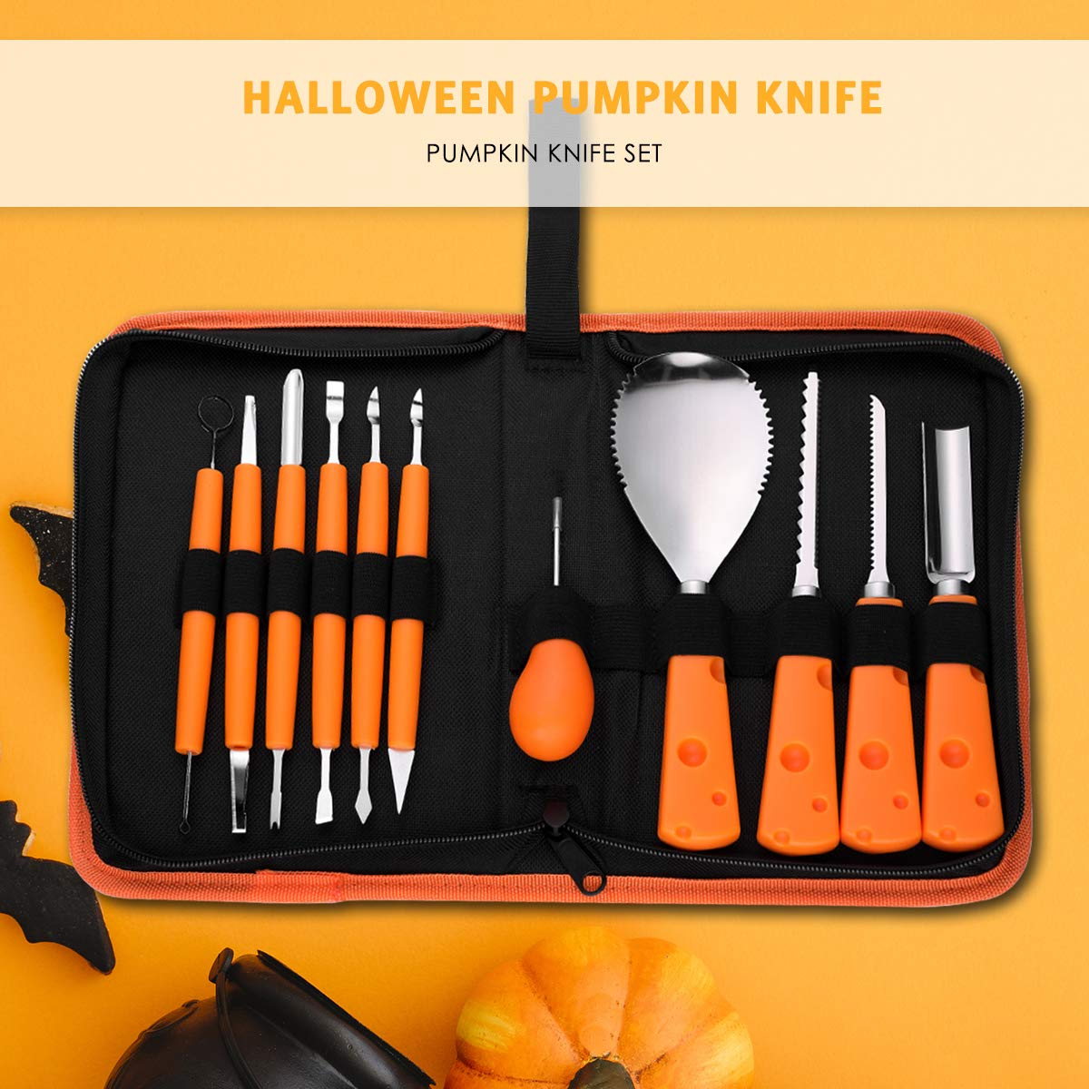 Pumpkin Carving Kit 11 Piece Professional Halloween Pumpkin Carving Tools Carve Sculpt Halloween Jack-O-Lanterns Heavy Duty Stainless Steel Tools for Halloween Decoration by MOAOO