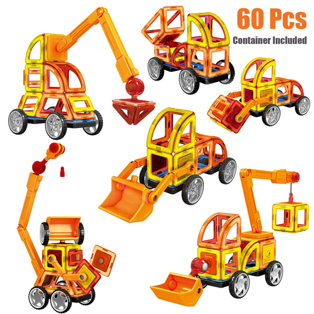 Yzakka 60Pcs Educational Magnetic Assemble Building Tiles DIY Blocks Construction Truck Vehicle Playset with Carry Box Review