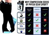 Physix Gear Compression Socks for Men & Women 20-30 mmhg, Best Graduated Athletic Fit for Running Nurses Shin Splints Flight Travel & Maternity Pregnancy - Boost Stamina Circulation & Recovery BLU XXL