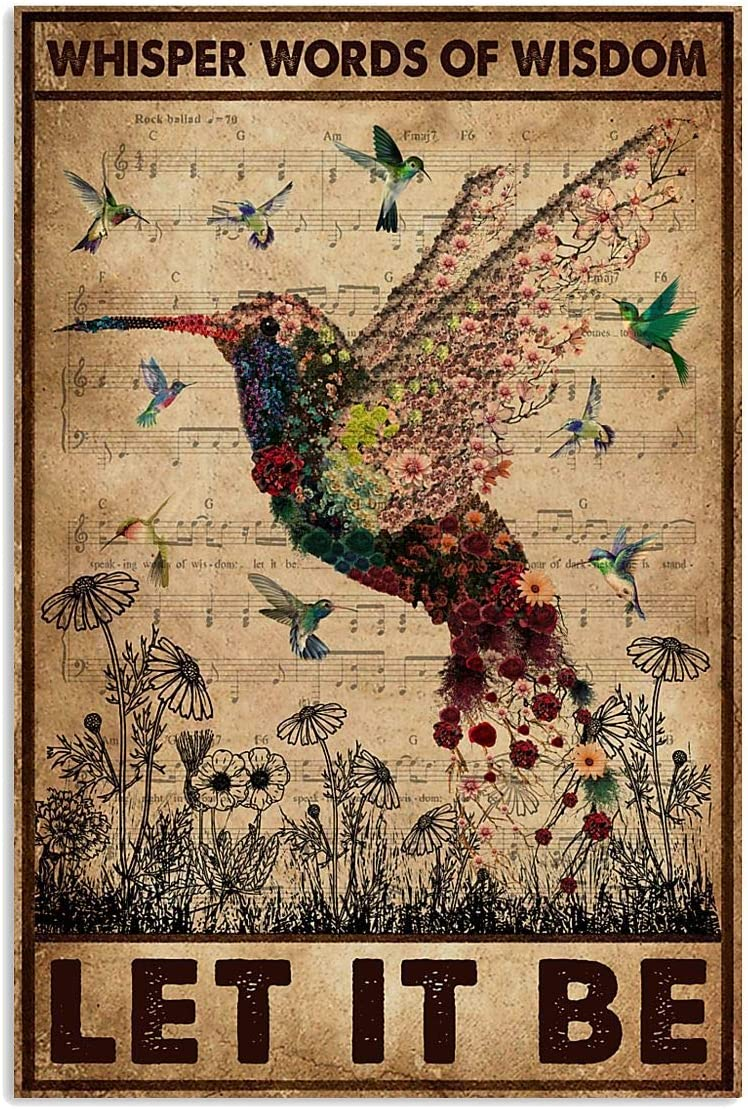 "GUMAC STORE Vintage Hummingbird Whisper Words of Wisdom Let It Be Poster Retro Art Picture Home Wall Decor Ideas On Xmas Birthday Full Size 12""x18"" 16""x24"" 24""x36"""