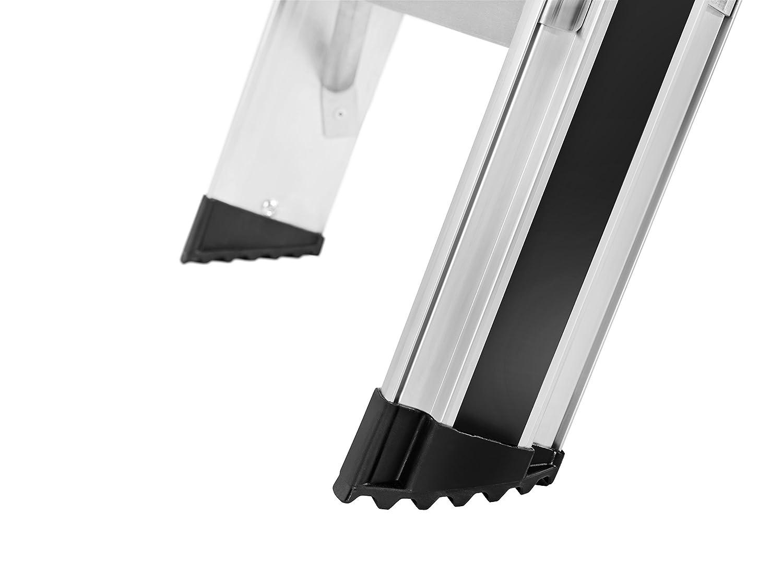 5 XXL-Stufen, Plattform-Verriegelung, belastbar bis 225 kg, Ablageschale, ausziehbarer Halteb/ügel 8895-027 Hailo ProfiLine S225 XXR Alu-Stufenstehleiter