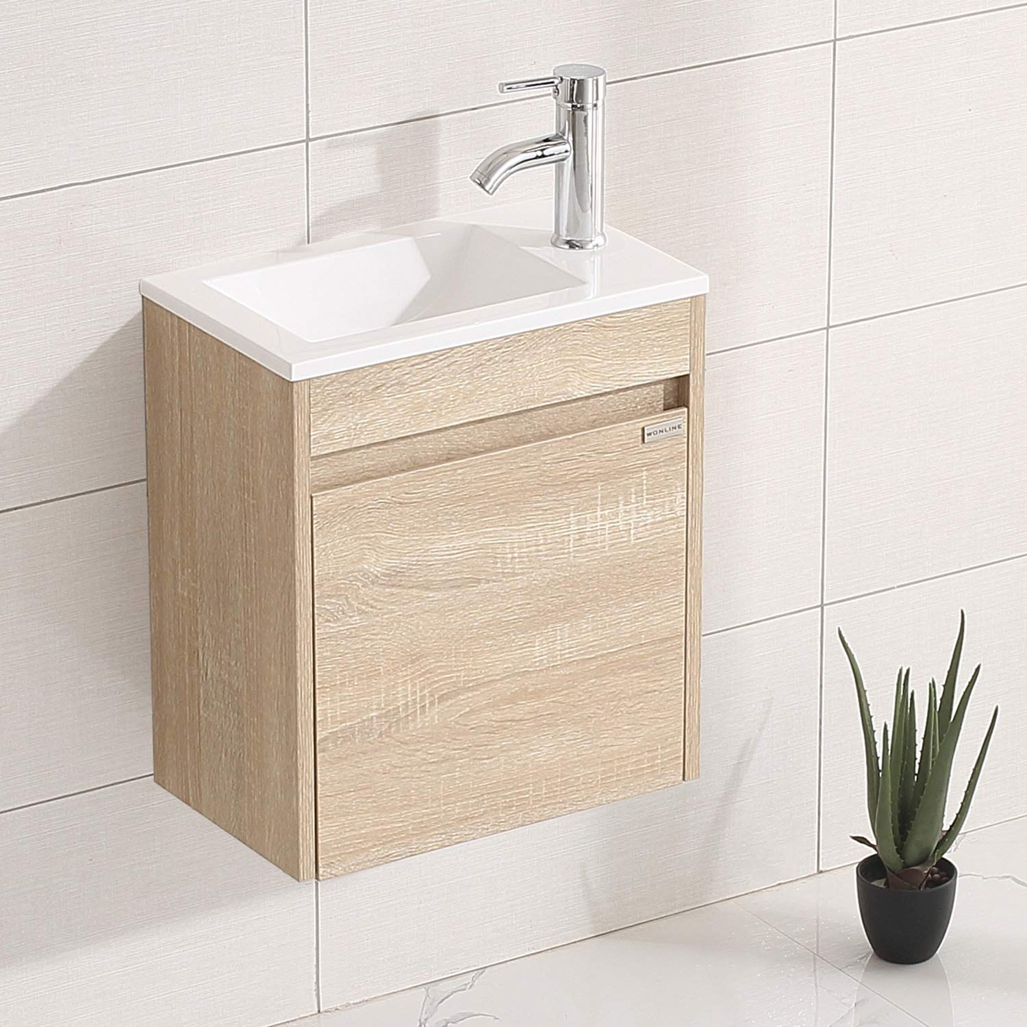WONLINE 15.7 Small Bathroom Vanity Set Wall Mounted Fully Assembled Cabinet with Sink for Small Space Combo Chrome Faucet