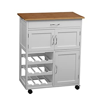 Premier 2403411 Housewares - Carrito de cocina, madera de bambú, Blanco