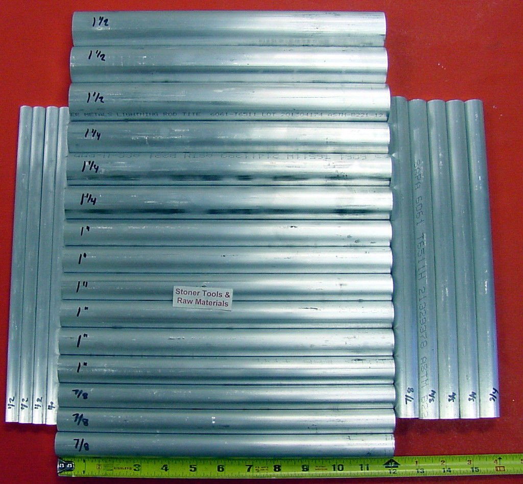 """24 Piece ALUMINUM SOLID ROUND ASSORTMENT 1//2/"""" to 1.50/"""" 6061 Bar Combo Pack #22"""