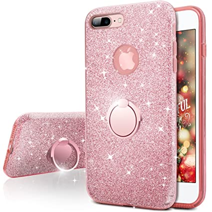 iPhone 7 Plus Case, Silverback Girls Bling Glitter Sparkle Cute Case with 360 Degree Rotating Ring Stand, Soft TPU Outer Cover + Hard PC Inner Shell ...
