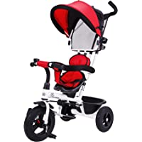 """R for Rabbit Tiny Toes Striker Baby Tricycle Trike Cycle with Reversible Seat and Canopy for Kids of 1.5 to 5 Years with Basket,Parentals Control & Rubber Wheels & Paddle Lock. (Red Black)"""