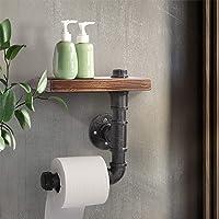 Rustic Industrial DIY Bathroom Paper Holder Pipe Vintage Shelf Towel Bookshelf