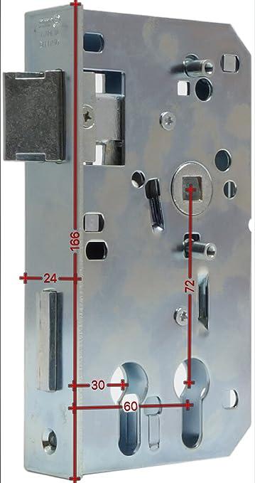 Ersatzeinsteckschloss Schlosseinsatz Kasten 30mm Dorn 60mm Stulp 24 x 166
