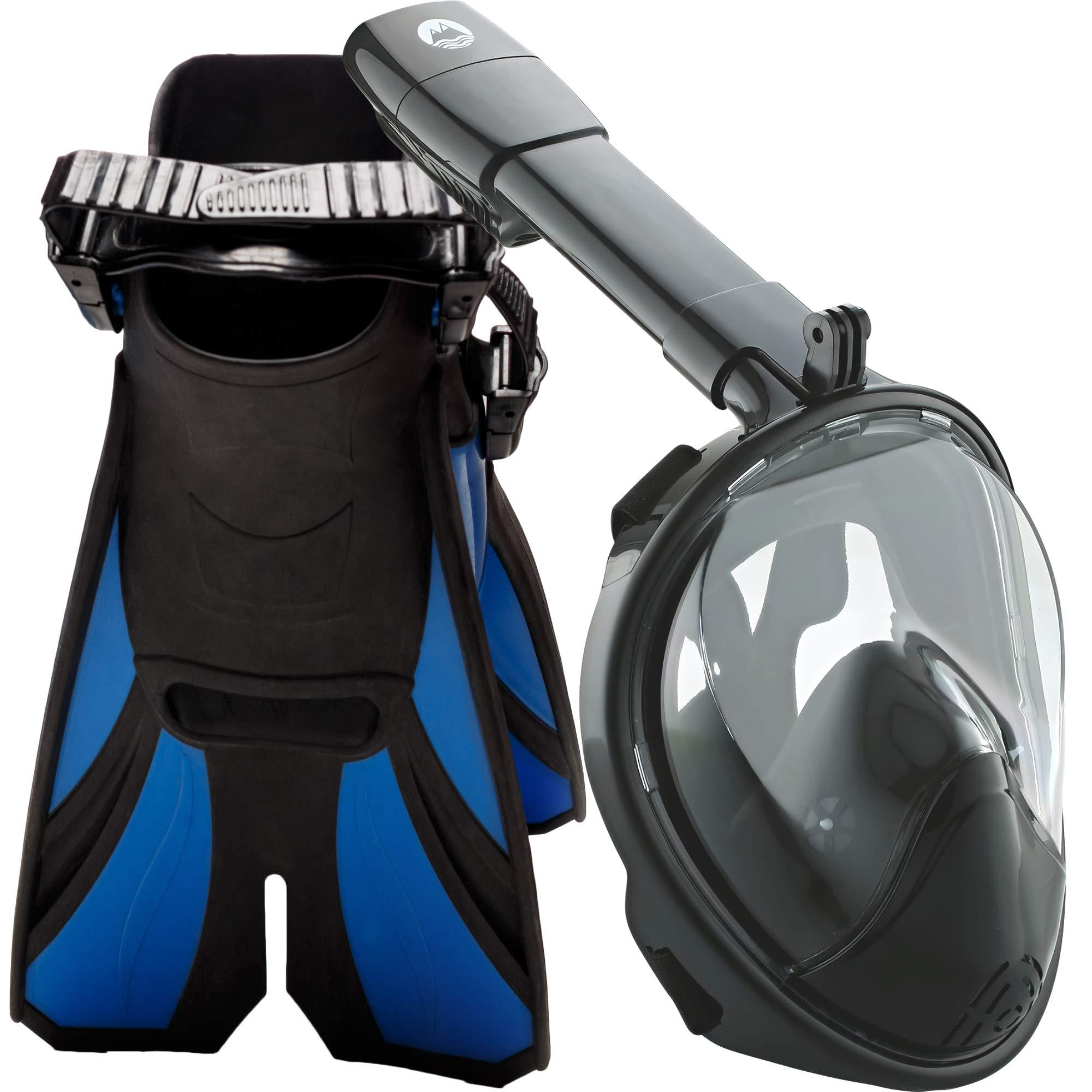 cozia design Snorkel Set with Full Face Snorkel Mask and Travel Adjustable Swim Fins (Black, Large/X Large) by cozia design