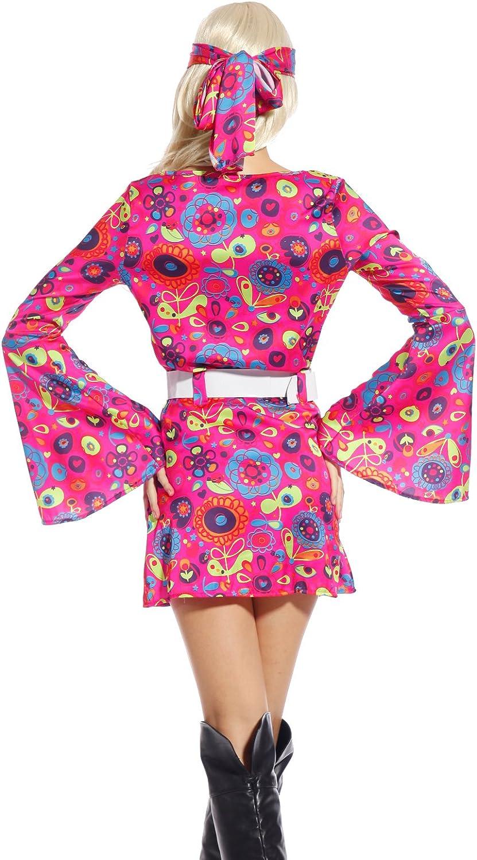 Maboobie - Disfraz hippie de flores para mujer de los años 60 ...