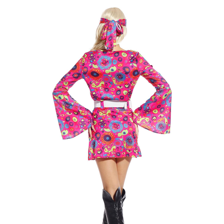 Amazon.com: Retro Flower Go-Go Dress Groovy Hippie Girl Fancy Dress ...
