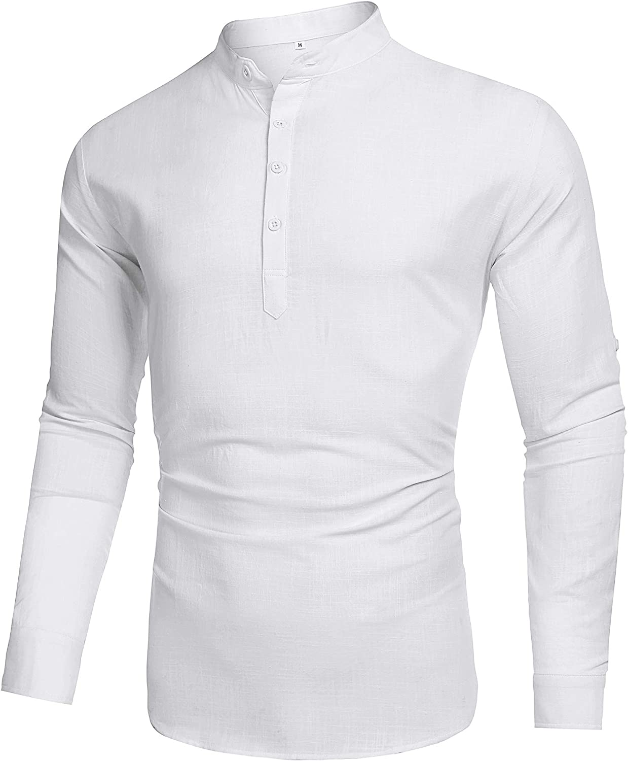 1920s Men's Shirts and Collars History LecGee Mens Cotton Linen Henley Shirt Long Sleeve Casual T-Shirt Beach Yoga Tops $21.99 AT vintagedancer.com