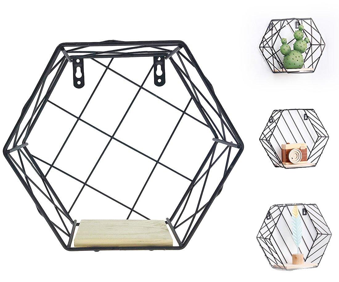 Alrsodl Iron Art Black Hexagon Geometric Grid Wall Mount Decoration Kitchen Living Room Storage Wire Basket Rack