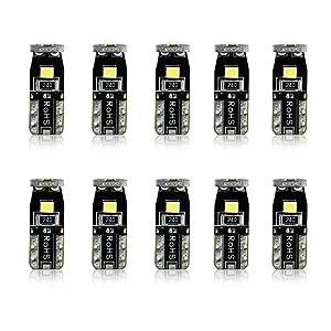 JDM ASTAR 10pcs Super Bright 194 168 175 2825 T10 PX Chipsets LED Bulbs,Xenon White