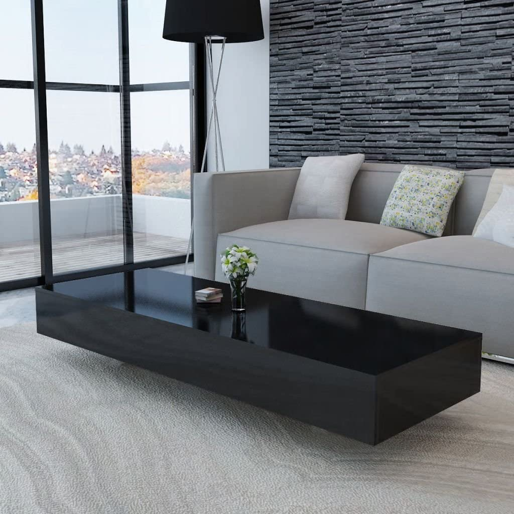 "Rectangular Coffee Table, High Gloss Cocktail Table Accent Sofa Side Table for Home Bedroom Living Room Office Black 45.3"" x 21.7"" x 12.2"""